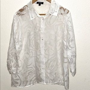 💛 Elementz White Patterned Button Up Sheer